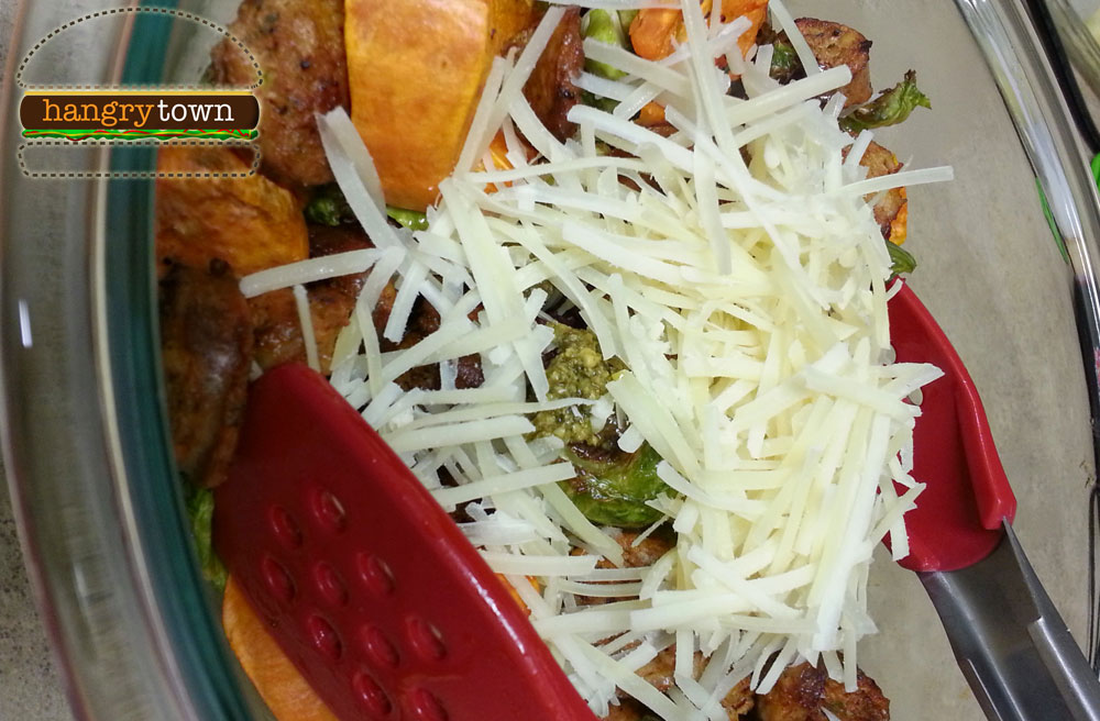 Sausage sweet potato Brussel sprout medley